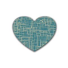Hand Drawn Lines Background In Vintage Style Heart Coaster (4 pack)