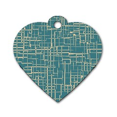 Hand Drawn Lines Background In Vintage Style Dog Tag Heart (Two Sides)