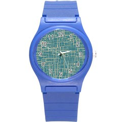 Hand Drawn Lines Background In Vintage Style Round Plastic Sport Watch (S)