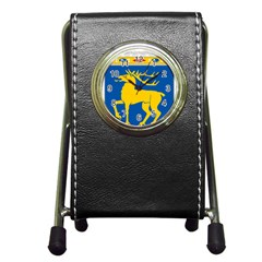Coat of Arms of Aland Pen Holder Desk Clocks