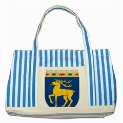 Coat of Arms of Aland Striped Blue Tote Bag