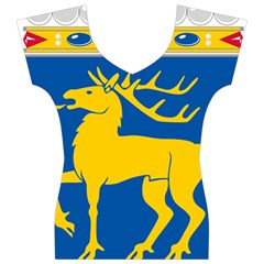 Coat of Arms of Aland Women s V-Neck Cap Sleeve Top