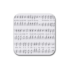 Jingle Bells Song Christmas Carol Rubber Square Coaster (4 Pack)