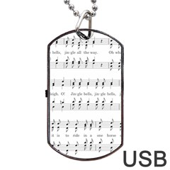Jingle Bells Song Christmas Carol Dog Tag USB Flash (One Side)