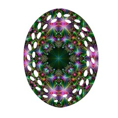 Digital Kaleidoscope Oval Filigree Ornament (Two Sides)