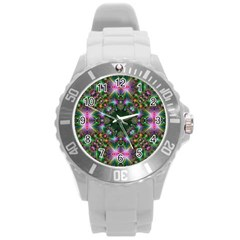 Digital Kaleidoscope Round Plastic Sport Watch (L)