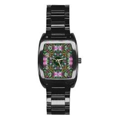 Digital Kaleidoscope Stainless Steel Barrel Watch