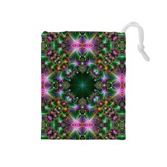 Digital Kaleidoscope Drawstring Pouches (Medium)