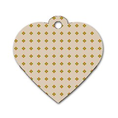 Pattern Background Retro Dog Tag Heart (one Side)
