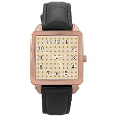 Pattern Background Retro Rose Gold Leather Watch