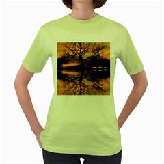 Aurora Sunset Sun Landscape Women s Green T Shirt