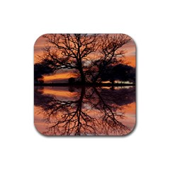 Aurora Sunset Sun Landscape Rubber Coaster (Square)