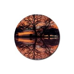 Aurora Sunset Sun Landscape Rubber Coaster (Round)