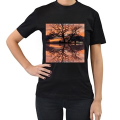 Aurora Sunset Sun Landscape Women s T-Shirt (Black)