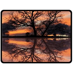 Aurora Sunset Sun Landscape Double Sided Fleece Blanket (Large)