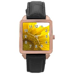 Plant Nature Leaf Flower Season Rose Gold Leather Watch