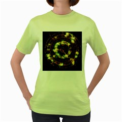 Science Fiction Energy Background Women s Green T-Shirt