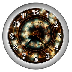 Science Fiction Energy Background Wall Clocks (silver)