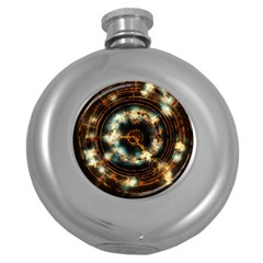 Science Fiction Energy Background Round Hip Flask (5 Oz)