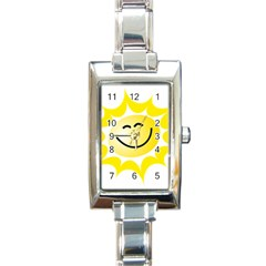 The Sun A Smile The Rays Yellow Rectangle Italian Charm Watch