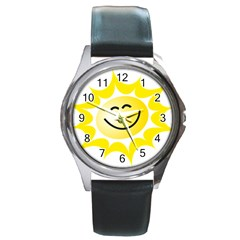 The Sun A Smile The Rays Yellow Round Metal Watch