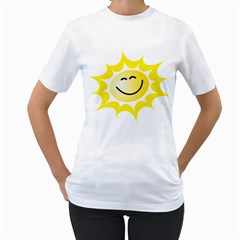 The Sun A Smile The Rays Yellow Women s T-Shirt (White) (Two Sided)