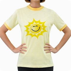 The Sun A Smile The Rays Yellow Women s Fitted Ringer T-Shirts