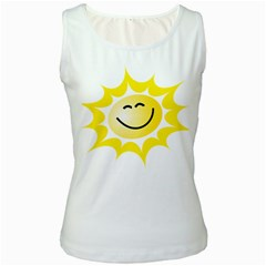 The Sun A Smile The Rays Yellow Women s White Tank Top