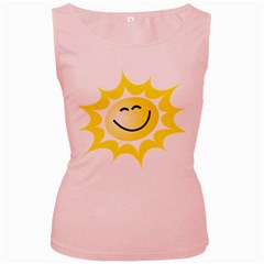 The Sun A Smile The Rays Yellow Women s Pink Tank Top