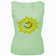 The Sun A Smile The Rays Yellow Women s Green Tank Top