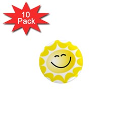 The Sun A Smile The Rays Yellow 1  Mini Magnet (10 pack)