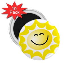 The Sun A Smile The Rays Yellow 2 25  Magnets (10 Pack)