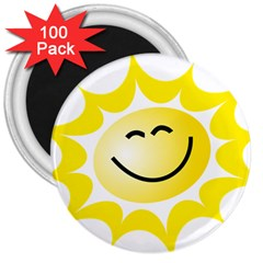 The Sun A Smile The Rays Yellow 3  Magnets (100 pack)