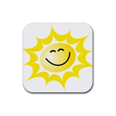 The Sun A Smile The Rays Yellow Rubber Square Coaster (4 Pack)