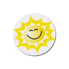 The Sun A Smile The Rays Yellow Rubber Coaster (Round)
