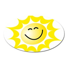 The Sun A Smile The Rays Yellow Oval Magnet