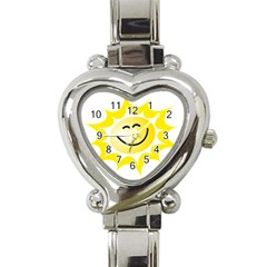The Sun A Smile The Rays Yellow Heart Italian Charm Watch