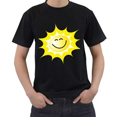 The Sun A Smile The Rays Yellow Men s T-Shirt (Black) (Two Sided)
