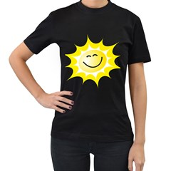 The Sun A Smile The Rays Yellow Women s T Shirt (black) (two Sided)
