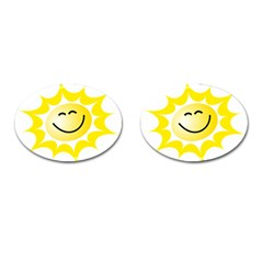 The Sun A Smile The Rays Yellow Cufflinks (Oval)