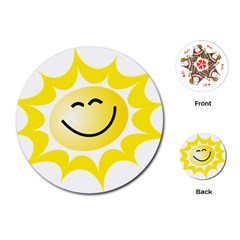 The Sun A Smile The Rays Yellow Playing Cards (Round)