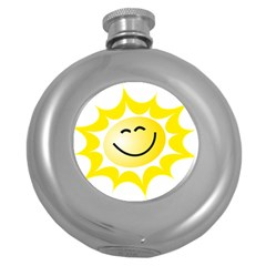 The Sun A Smile The Rays Yellow Round Hip Flask (5 oz)