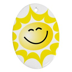 The Sun A Smile The Rays Yellow Oval Ornament (two Sides)