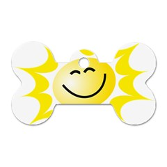 The Sun A Smile The Rays Yellow Dog Tag Bone (two Sides)