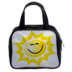 The Sun A Smile The Rays Yellow Classic Handbags (2 Sides)