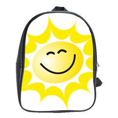 The Sun A Smile The Rays Yellow School Bags(Large)