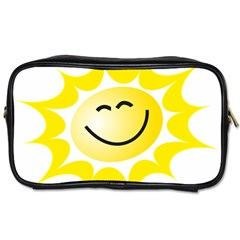 The Sun A Smile The Rays Yellow Toiletries Bags 2 Side