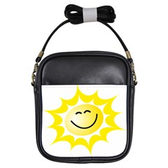 The Sun A Smile The Rays Yellow Girls Sling Bags