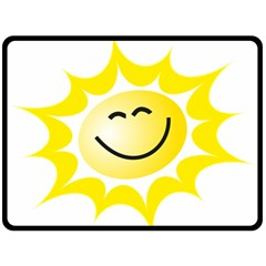 The Sun A Smile The Rays Yellow Fleece Blanket (large)