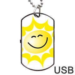 The Sun A Smile The Rays Yellow Dog Tag USB Flash (Two Sides)